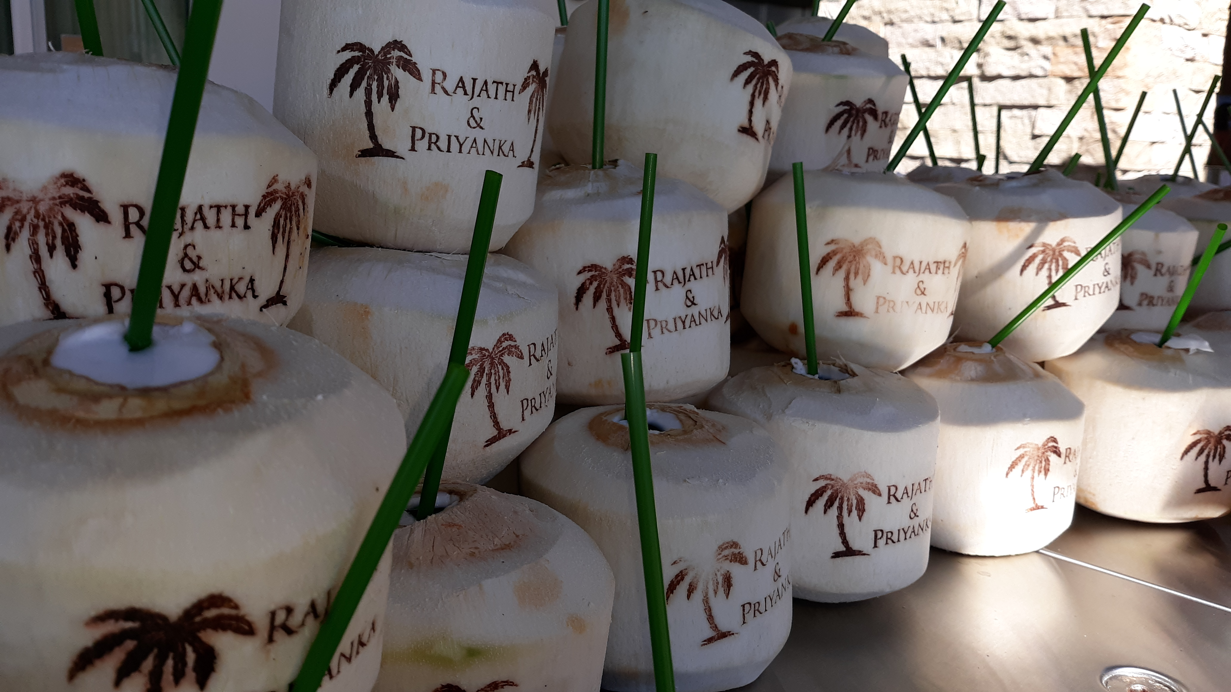 Custom Hot Branding Coconuts with Corporate Branding for Special Event